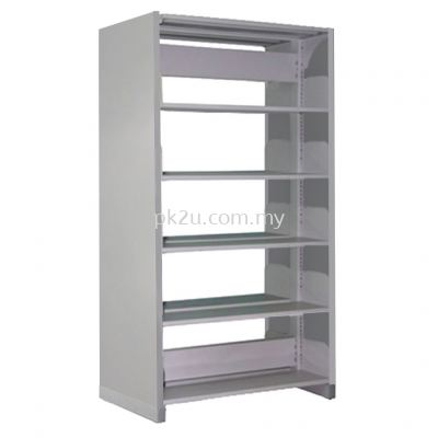 DSLS-5L-SP-G1 - Double Sided Library Shelving With Steel Panel (10 Shelves)