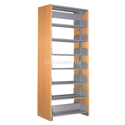 DSLS-7L-WP - Double Sided Library Shelving With Wooden End Panel (14 Shelves)