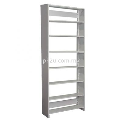 SSLS-7L-SP-A1 - Single Sided Library Shelving With Steel End Panel (7 Shelves)