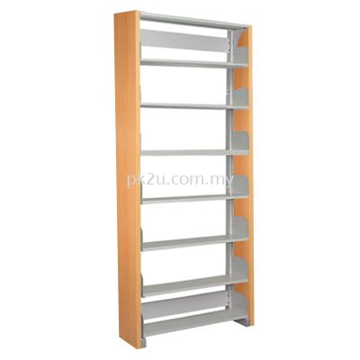 SSLS-7L-WP-A1 - Single Sided Library Shelving With Wooden End Panel (7 Shelves)