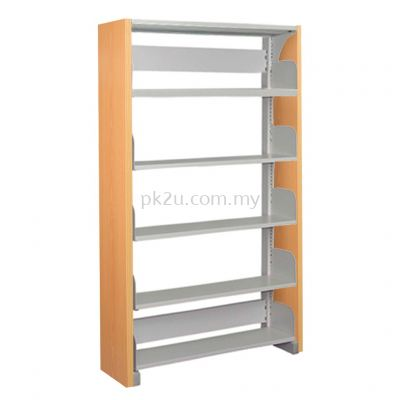 SSLS-5L-WP - Single Sided Library Shelving With Wooden Panel (5 Shelves)