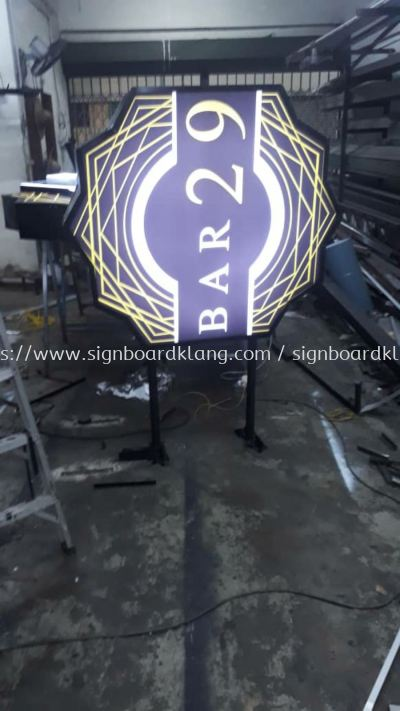 bar 29 custom made shape double side light box