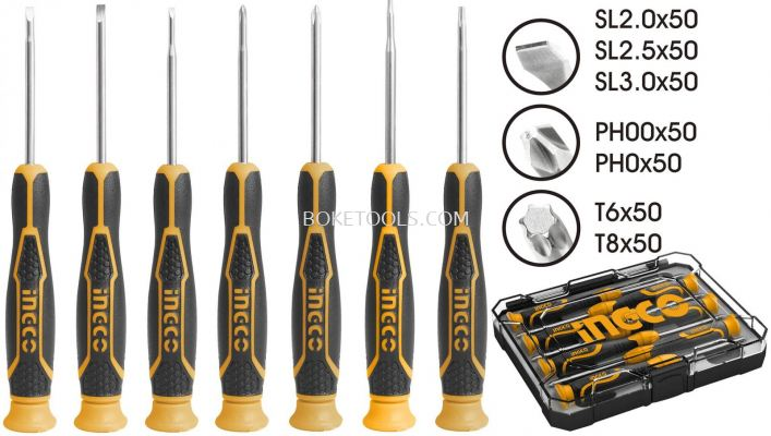 (AVAILABLE IN PIONEER BRANCH) INGCO HKSD0718 �C 7PCS Precision Screwdriver Set