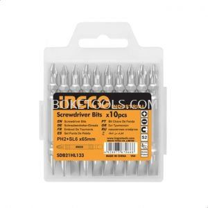 (AVAILABLE IN PIONEER BRANCH) INGCO SDB21HL133 10pcs Nickle Plated Megnetic Screwdriver Bits with double end