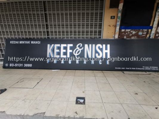 Keef & Nish Fragrance stainless steel 3D box up lettering LED backlit signboard at kota kemuning shah alam