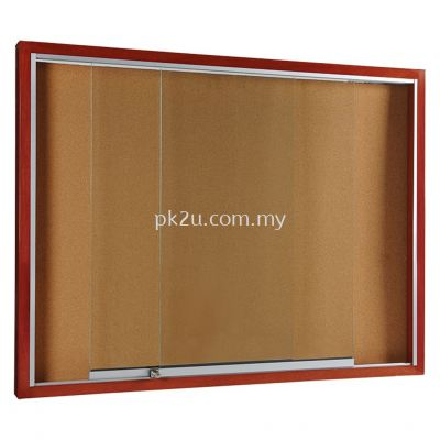 Sliding Glass Notice Board �C Wooden Frame