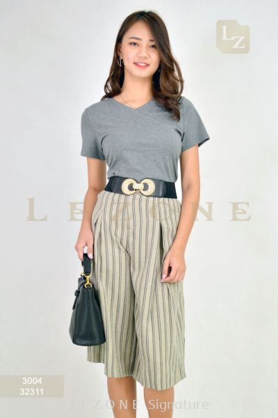 32311 LINEN STRIPED CULOTTES��2nd pcs onwards 50%��