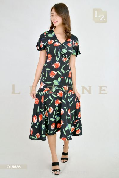 OL5586 Plus Size LeAnn Floral Midi Dress��2nd pcs onwards 50%��