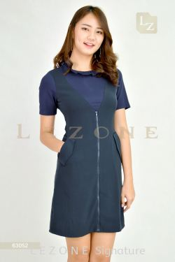 63052 PLUS SIZE CONTRAST SLEEVE DRESS【30% 40% 50%】