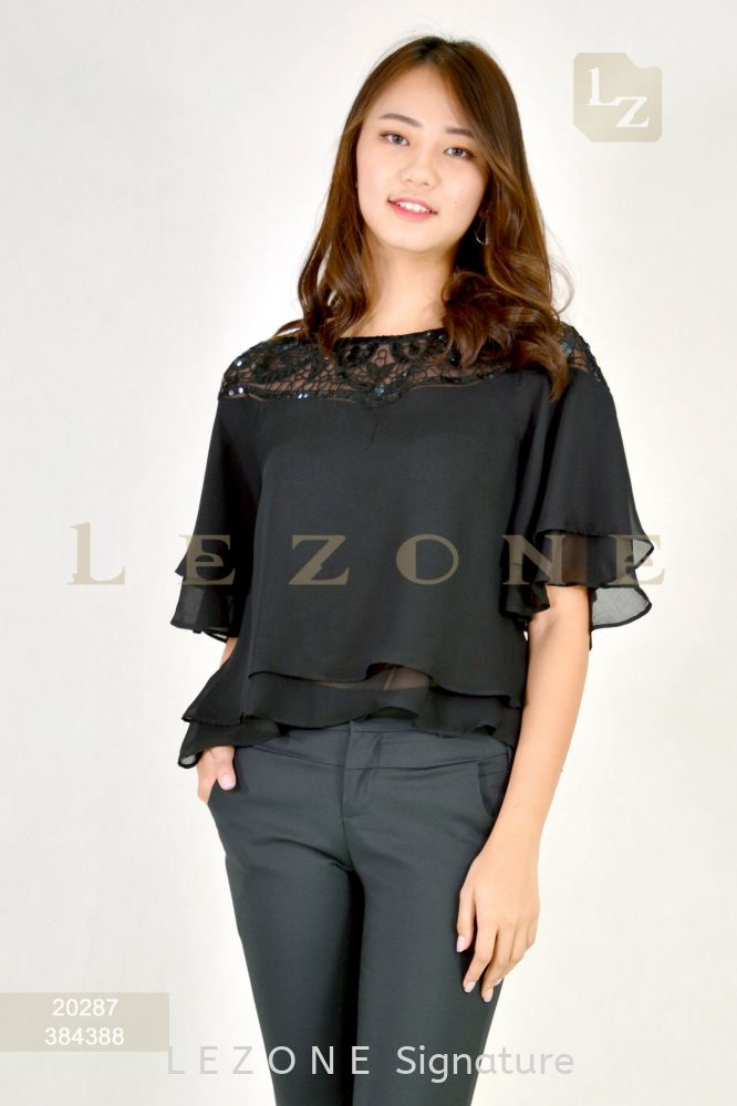 20287 CHIFFON LAYER BLOUSE  【1st 10% 2nd 20% 3rd 30%】