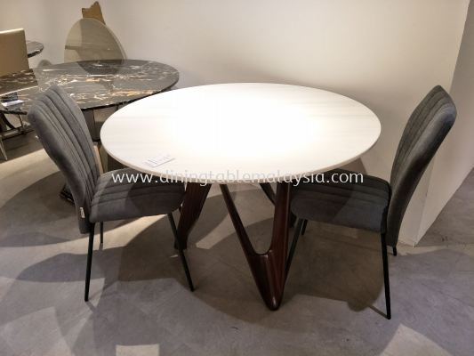 Round White Marble Dining Table Set With Chairs - 4 Seater