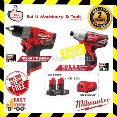 "MILWAUKEE M12 FUEL CORDLESS IMPACT DRILL & DRIVER (M12 FPD-602C) FOC 1/4"" Hex Impact Driver M12-BID-0 (Bare Tool)"
