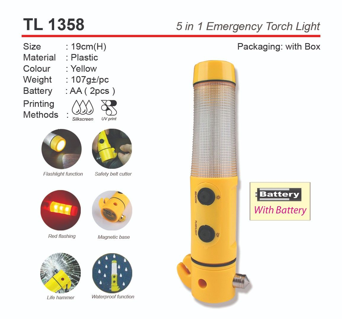 TL1358 5 in 1 Emergency Torch Light
