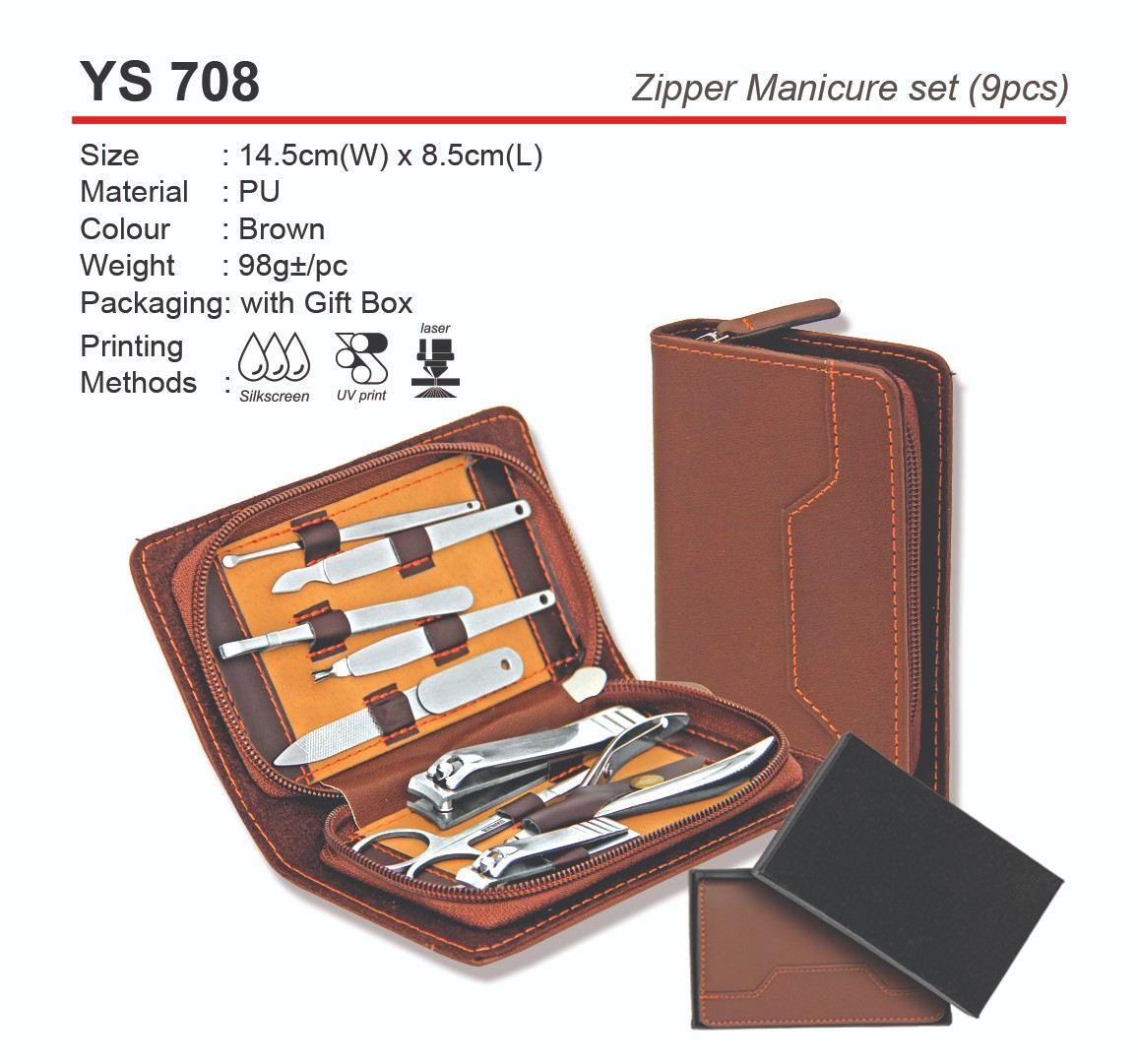 YS708  Zipper Manicure Set (9pcs)