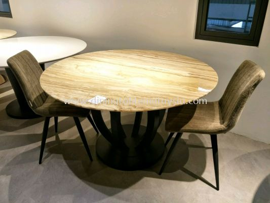 4 Seater - Round Beige Marble Dining Table Set With Chairs