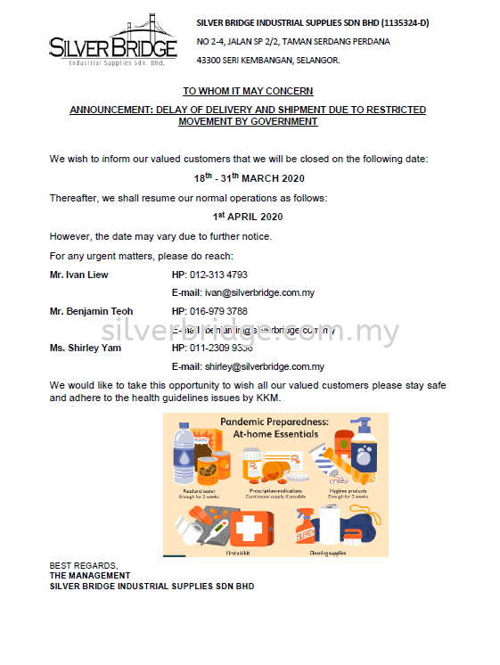 ANNOUNCEMENT: DELAY OF DELIVERY AND SHIPMENT DUE TO RESTRICTED MOVEMENT BY GOVERNMENT