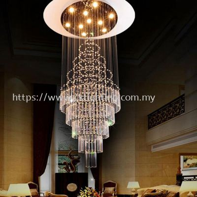 CK LIGHTING CRYSTAL CHANDILIER K9 SHINING FOR STAIRCASE & HIGH AREA (L80CM *H210CM)