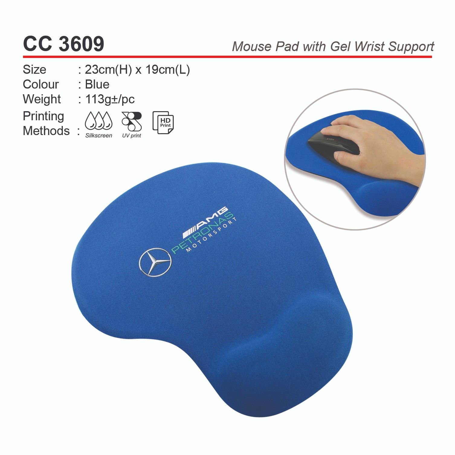 CC3609  Mouse Pad with Gel Wrist Support