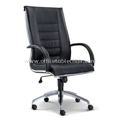 BOSSI EXECUTIVE HIGH BACK CHAIR C/W CHROME TRIMMING LINE ASE 1071