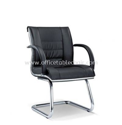 NOSSI EXECUTIVE VISITOR LEATHER CHAIR C/W CHROME TRIMMING LINE
