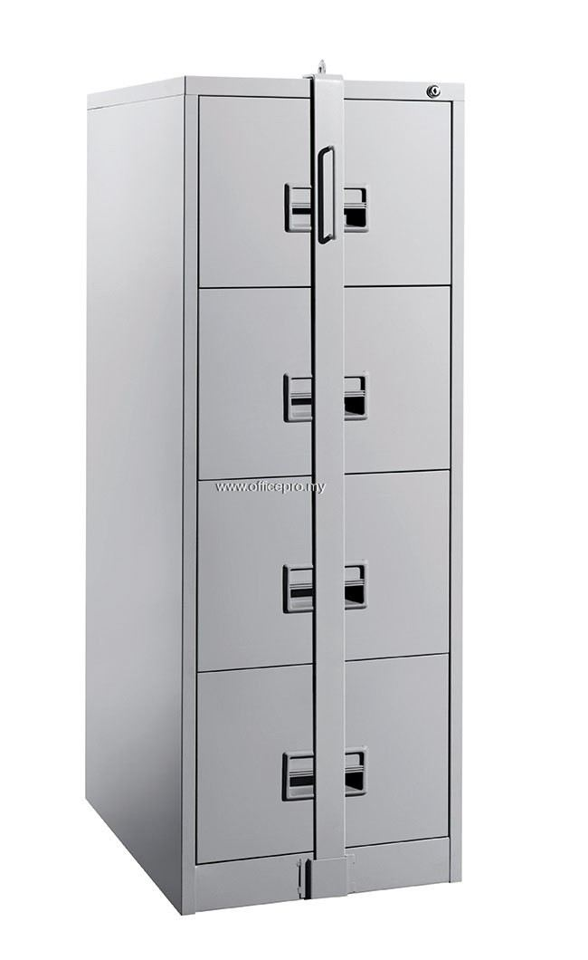 IPS-106/A-LB 4-DRAWERS STEEL FILING CABINET WITH RECESS HANDLE & LOCKING BAR C/W BALL BEARING SLIDE