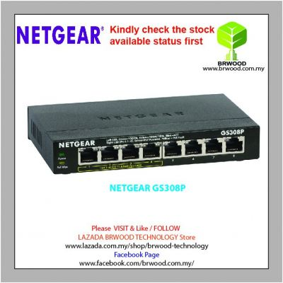 NETGEAR GS308P: Business Essentials 8-Port Gigabit Ethernet Switch with 4-Ports PoE