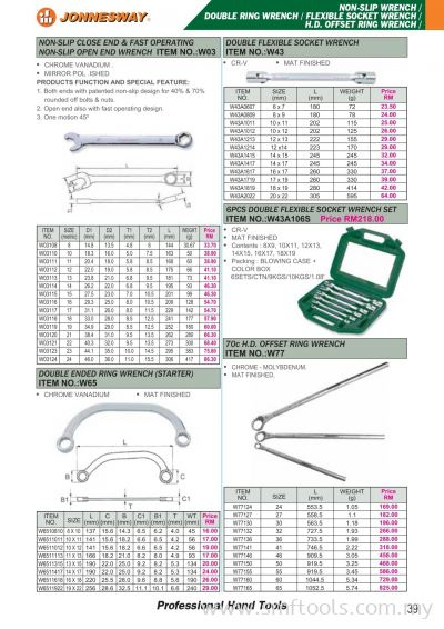 JONNESWAY NON-SLIP WRENCH/DOUBLE RING WRENCH/FLEXIBLE SOCKET WRENCH/H.D. OFFSET RING WRENCH
