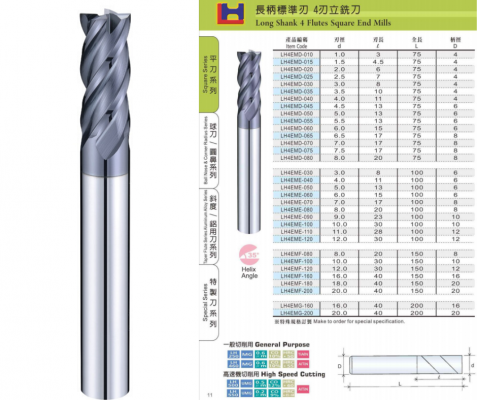 Long Shank 4 Flutes Square End Mills