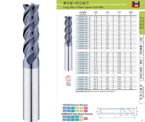 Long Flute 4 Flutes Square End Mills
