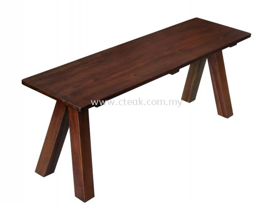 3 Seater Cross Dark Walnut Bench