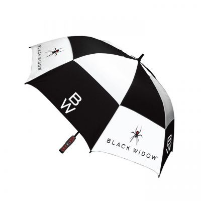 "Black Widow Umbrella 68"" Double Canopy Black/White"