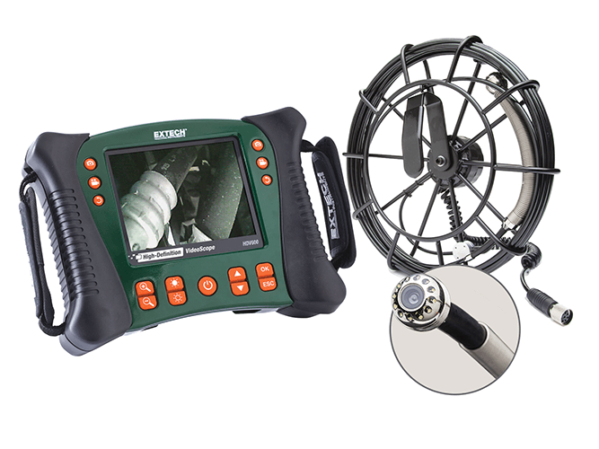 Extech HDV650-10G HD VideoScope Plumbing Kit with HDV600 Monitor and 10m Probe