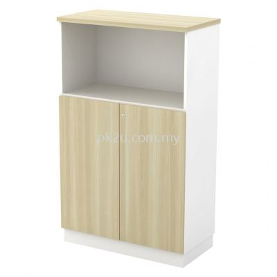 SC-YOD-13 - Semi Swinging Door Medium Cabinet - White & Boras Ash