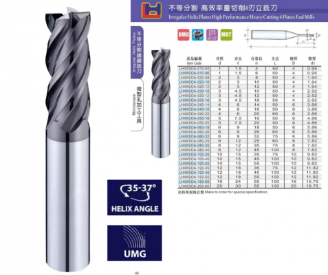 Irregular Helix 35��~37�� 4Flutes High Performance Heavy Cutting 4 Flutes End Mills