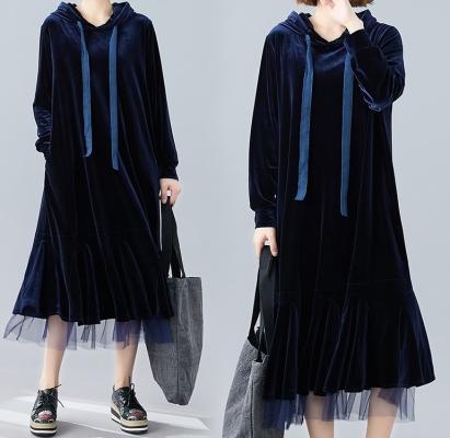 Korean Fashion - Velvet Fishtail Mesh Dress