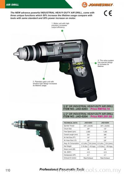 JONNESWAY AIR DRILL / AIR SPOTWELD DRILL / AIR SCREWDRIVER