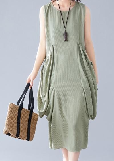 Sleeveless Korea Linen Dress with Big Pocket