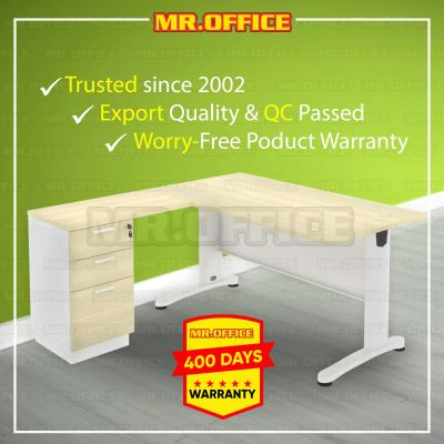 MR.OFFICE : COMBO-B188-3D 1800/800L x 1600/450W x 750H (mm) L-Shape Metal J-Leg Table With 2D1F Fixed Pedestal