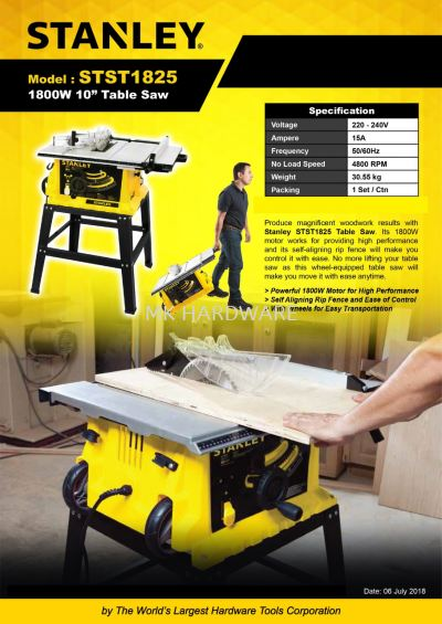 STANLEY TABLE SAW 1800W STST1825