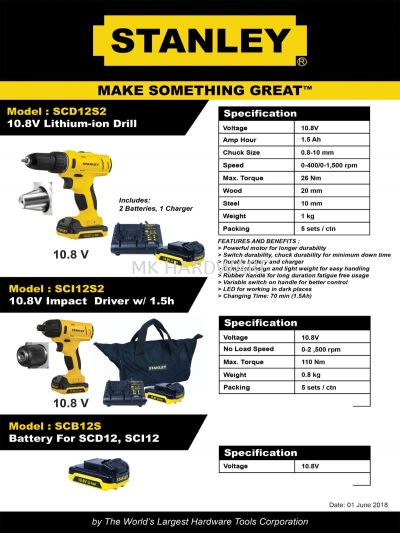 STANLEY LITHIUM ION DRILL / IMPACT DRIVER