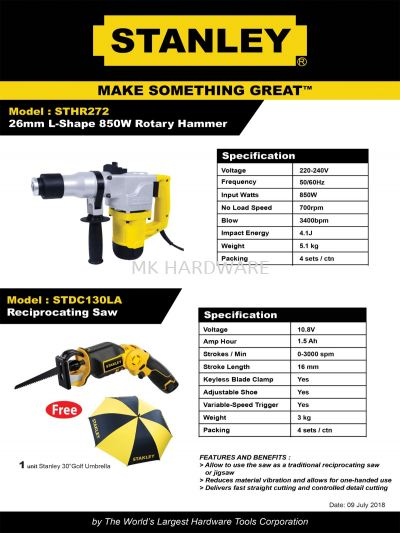 STANLEY ROTARY HAMMER / RECIPROCATING SAW