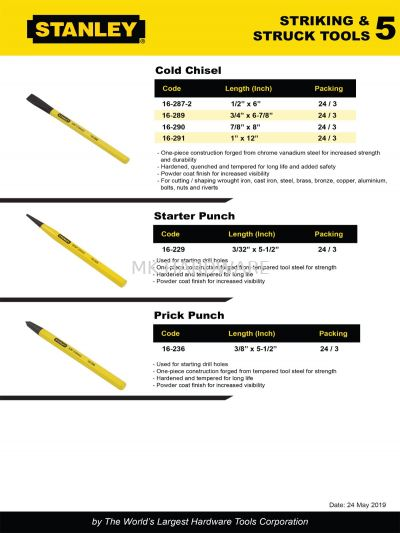STANLEY COLD CHISEL/STARTER PUNCH / PRICK PUNCH
