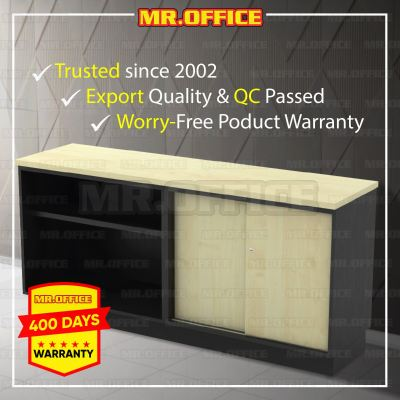 MR.OFFICE : T-YOS7180 1800W x 450D x 750H (mm) Combination Low Cabinet (Open Shelf +Sliding Door) / Kombinasi Almari Pejabat Rendah