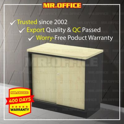 MR.OFFICE : T-YS875 800W x 450D x 750H (mm) Sliding Door Side Cabinet / Almari Pejabat Rendah