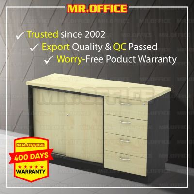 MR.OFFICE : T-YSP7124 1200W x 450D x 750H (mm) Combination Low Cabinet (Sliding Door + Fixed Pedestal 4D) / Kombinasi Almari Pejabat Rendah