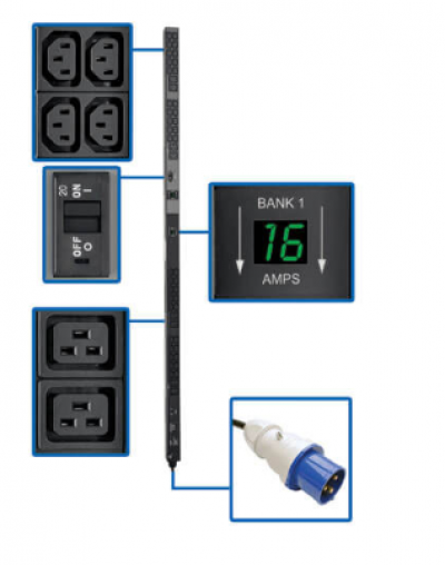 7.4kW Single-Phase Metered PDU, 230V Outlets (8 C19 and 40 C13), IEC-309 32A Blue Input, 10 ft. Cord