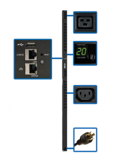3.2�C3.8kW Single-Phase Switched PDU with LX Platform Interface, 200�C240V Outlets (20 C13 & 4 C19), C