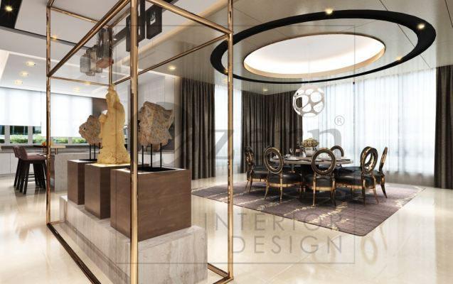Transparent  full height display glass cabinet with Champagne gold structure to divide Living hall & Dining area