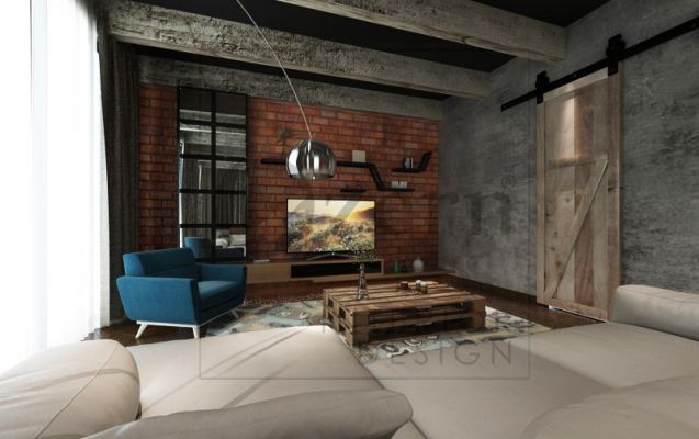 Industrial design for a small TV area with wooden Barn door design.