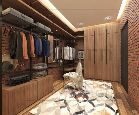 Industrial design for walk in closet with open concept with brick wall design.